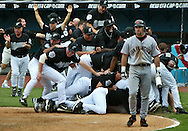 Victory--10/04/03 --Miami--The Florida Marlins celebrate at the end of the game at homeplate defeating The San Francisco Giants at Pro Player Stadium in game 4 of the National League Divisional Series playoff game.