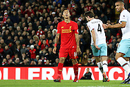 Roberto Firmino of Liverpool reacts to missing a chance to score. Premier League match, Liverpool v West Ham Utd at the Anfield stadium in Liverpool, Merseyside on Sunday 11th December 2016.<br /> pic by Chris Stading, Andrew Orchard sports photography.