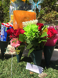 EXCLUSIVE: Fans visit the Paul Walker's grave on what would have been the fast and furious stars birthday. 12 Sep 2017 Pictured: Flowers left at Paul Wakers grave. Photo credit: APEX / MEGA TheMegaAgency.com +1 888 505 6342