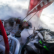 Leg 7 from Auckland to Itajai, day 11 on board MAPFRE, surfing the southern ocean, Guillermo and Sophie at the hatch, 28 March, 2018.