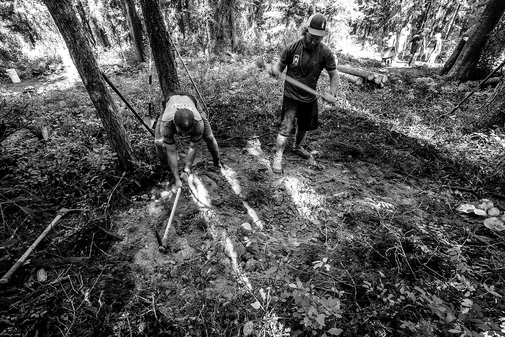 Trail Builders working on the Lithium Singletrack in Wilson, Wyoming.
