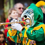 A scary group of musicians playing the trumpet in a parade during carnival (Fastnacht) in Basel, Switzerland.