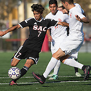 During the Orange Coast College Mens Soccer vs. Santa Ana College soccer game on Friday, November 4, 2016 midfielder  #7 Matheus Cuhna drives midfield.