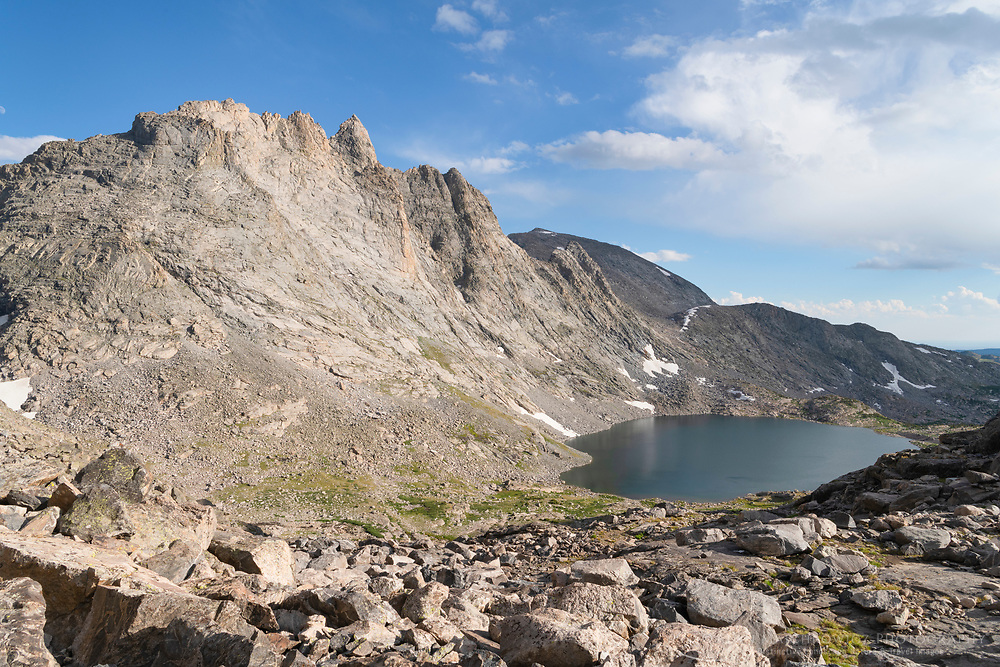 Mount Bonneville and Jim Harrower Lake, from pass near pronghorn Peak. Bridger Wilderness. Wind River Range, Wyoming