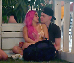 EXCLUSIVE: A scantily clad Ariel winter shares a sweet moment with her boyfriend Levi Meaden at Coachella. The Modern Family actress was seen wearing what was pretty much a two piece bathing suit on day two of the music festival, sat on her boyfriend's lap and kissed him in a dark corner of the VIP area. 15 Apr 2017 Pictured: Ariel Winter and Levi Meaden. Photo credit: Snorlax / MEGA TheMegaAgency.com +1 888 505 6342