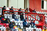 The media team all in masks to show a sign of the times during the EFL Sky Bet League 2 match between Stevenage and Walsall at the Lamex Stadium, Stevenage, England on 20 February 2021.
