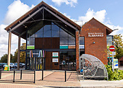 Modern architecture of library building, West Berkshire Libraries, Newbury, Berkshire, England, UK