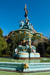 View of Ross Fountain after renovation in Princes Street Gardens with Edinburgh Castle to rear, Scotland, UK