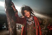 Kossim's daughter, the shepherd. Langar, Wakhi winter shepherd settlement..Trekking up to the Little Pamir with yak caravan over the frozen Wakhan river.