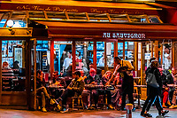 """Sidewalk cafe """"Au Sauvignon"""", in the 7th arrondissement, Paris, France."""