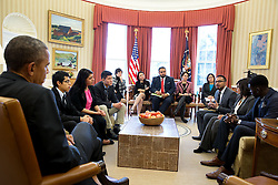 President Barack Obama meets with DREAMers to discuss how they have benefited from the Deferred Action for Childhood Arrivals immigration reform program, in the Oval Office, Feb. 4, 2015. (Official White House Photo by Pete Souza)<br /> <br /> This official White House photograph is being made available only for publication by news organizations and/or for personal use printing by the subject(s) of the photograph. The photograph may not be manipulated in any way and may not be used in commercial or political materials, advertisements, emails, products, promotions that in any way suggests approval or endorsement of the President, the First Family, or the White House.