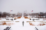 26 JANUARY 2021 - DES MOINES, IOWA: Looking west from the Iowa State Capitol into central Des Moines Tuesday morning after a two day snowstorm dropped nearly a foot of snow. Workers in Des Moines started cleaning up a record snowfall Tuesday morning. The National Weather Service reports that 10.3 inches of snow fell at Des Moines International Airport Monday January 25, breaking the daily record of 10 inches for January 25 set in 1895. Many downtown businesses closed for the day because of the snow, since roads throughout central Iowa were snowpacked and hard to drive.        PHOTO BY JACK KURTZ