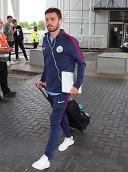 Bernardo Silva as the Manchester City team arrive at Manchester Airport as they jet for Iceland