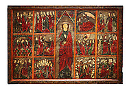 Gothic painted Panel of the life of Saint Ursula. Tempera and varnished metal plate on wood. National Museum of Catalan Art, inv no: 004377-000 .<br /> <br /> If you prefer you can also buy from our ALAMY PHOTO LIBRARY  Collection visit : https://www.alamy.com/portfolio/paul-williams-funkystock/romanesque-art-antiquities.html<br /> Type -     MNAC     - into the LOWER SEARCH WITHIN GALLERY box. Refine search by adding background colour, place, subject etc<br /> <br /> Visit our ROMANESQUE SCULPTURE PHOTO COLLECTION for more   photos  to download or buy as prints https://funkystock.photoshelter.com/gallery/Romanesque-Statue-Sculptures-Pictures-Images/G0000ezFHYeF_xRI/C0000YpKXiAHnG2k