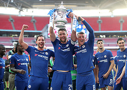 Chelsea's Danny Drinkwater (left), Gary Cahill (centre) and Ross Barkley celebrate with the FA Cup trophy