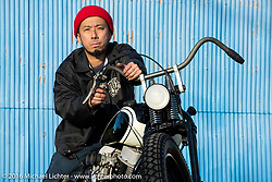 Hiromichi Nishiyama on his Cycle West rigid framed Harley-Davidson Panhead after the Mooneyes Yokohama Hot Rod & Custom Show. Japan. December 8, 2016.  Photography ©2016 Michael Lichter.