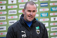 AFC Wimbledon manager Mark Robinson giving post match interview during the EFL Sky Bet League 1 match between AFC Wimbledon and Hull City at Plough Lane, London, United Kingdom on 27 February 2021.
