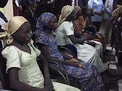 October 13, 2016 - Abuja, Nigeria - Some of the 21 Chibok school girls release gathered during a meeting with the Nigeria Vice-President Yemi Osinbajo in Abuja, Nigeria  13 October 2016  (Credit Image: © Next24online/NurPhoto via ZUMA Press)