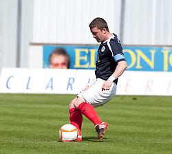 Falkirk's Thomas Scobie scoring their first goal,.Half time, Falkirk 1 v 0 Ayr United, 5/5/2012..©Michael Schofield..