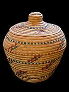Yupik Eskimo grass basket with seal gut decoration, Fred and Randi Hirschmann's Collection, Aalska.