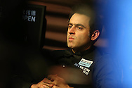 Ronnie O'Sullivan in action during the final against Neil Robertson. Betvictor Welsh Open snooker 2016, Final day at the Motorpoint Arena in Cardiff, South Wales on Sunday 21st  Feb 2016.  <br /> pic by Andrew Orchard, Andrew Orchard sports photography.