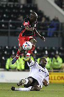 Photo: Pete Lorence.<br />Derby County v Queens Park Rangers. Coca Cola Championship. 13/03/2007.<br />Darren Moore and Paul Furlong in action.