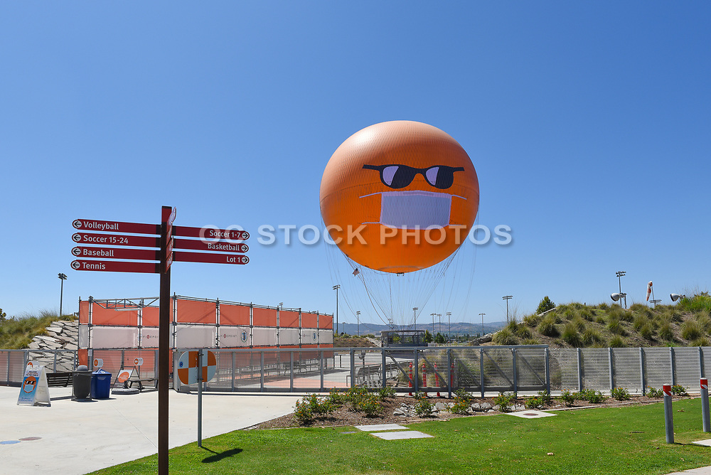 The Orange County Great Park Balloon Ride with Covid Mask On