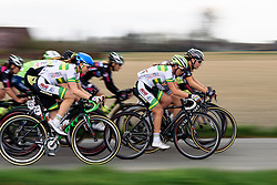 The peloton are keeping Anna Plitcha in their sights as they speed back to Dottignies - Grand Prix de Dottignies 2016. A 117km road race starting and finishing in Dottignies, Belgium on April 4th 2016.
