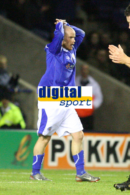 Photo: Pete Lorence.<br />Leicester City v Preston North End. Coca Cola Championship. 18/11/2006.<br />Iain Hume after mistakenly celebrating a goal that Carlo Nash saved with inches to spare.