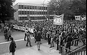 H-Block Protest To British Embassy.  (N86)..1981..18.07.1981..07.18.1981..18th July 1981..A protest march to demonstrate against the H-Blocks in Northern Ireland was held today in Dublin. After the death of several hunger strikers in the H-Blocks feelings were running very high. The protest march was to proceed to the British Embassy in Ballsbridge...Image shows the marchers assembling before setting off towards the British Embassy.Protestors from all over ireland attended. A banner supporting Kieran Doherty,currently on hunger strike is in the foreground.