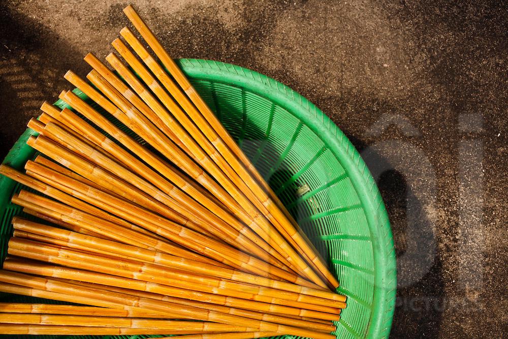 Chopsticks drying in a basket, Vietnam, Southeast Asia