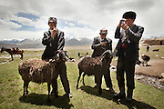 Kyrgyz herders adore their smartphones, which they acquire by bartering and keep charged with solar panels. The gadgets, which first appeared in the Afghan Pamir in 2010, are useless for communication (cellular service doesn't reach the isolated plateau) so they're used to play music and take photos. Phones, like all imported goods in the Pamir, are brought on the back of yaks or horses...