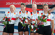 Amsterdam. NETHERLANDS.  GER W4X Gold Medalist: Bow. Annekatrin THIELE, Carina BAER, Julia<br /> LIER and Lisa SCHMIDLA, Gold  Medalist.  Bosbaan Rowing Course. 2014 World Rowing Champions . 14:29:53  Saturday  DATE}  [Mandatory Credit; Peter Spurrier/Intersport-images]
