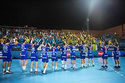 Players of Celje celebrate during handball match between RK Celje Pivovarna Lasko and RD Koper 2013 of Super Cup 2016, on August 27, 2016 in SRC Marina, Portoroz / Portorose, Slovenia. Photo by Matic Klansek Velej / Sportida
