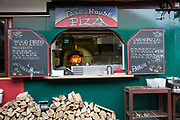 Wood fired oven pizza kitchen at The Dog House Blues Tea Room on 09th April 2017 in Howth, County Dublin, Republic of Ireland. Howth is an Irish village on the Howth Peninsula, east of central Dublin. Dublin is the largest city and capital of the Republic of Ireland.