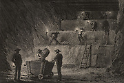 Working metal deposits at Stolberg, Prussia, Germany, in direct or descending steps. The miners are working by the light of oil lamps with naked flames as in metal mines there was none of the inflammable gas methane to contend with. The ore is being carried away from the workface in trolleys running on rails.  From  'Underground Life; or, Mines and Miners' by Louis Simonin (London, 1869). Wood engraving.
