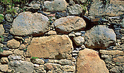 The Wari people built this wall at Willkahuain archeological site between 600 to 1000 AD, near Huaraz, Peru, South America.
