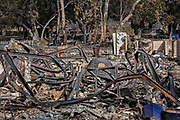 Destroyed home near Kanan Road. The Woolsey wildfire started on November 8, 2018 and has burned over 98,000 acres of land, destroyed an estimated 1,100 structures and killed 3 people in Los Angeles and Ventura counties and the especially hard hit area of Malibu. California, USA