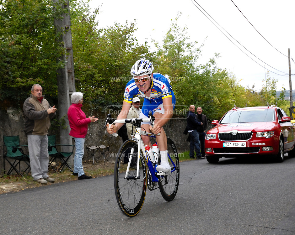France, October 9 2011:Eventual winner, Fabien SCHMIDT, TEAM U NANTES ATLANTIQUE (UNA) led the Espoirs race over Côte de l'Epan of the 2011 edition of the Paris Tours cycle race. Copyright 2011 Peter Horrell