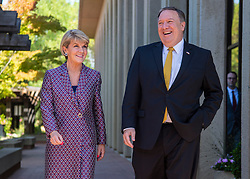 July 23, 2018 - Palo Alto, California, U.S. - Australian Minister for Foreign Affairs JULIE BISHOP and Secretary of State MIKE POMPEO speak with each other following a session during the Australia-United States Ministerial Consultation at the Hoover Institute at Stanford University in Palo Alto (Credit Image: ? Navy/DOD via ZUMA Wire/ZUMAPRESS.com)