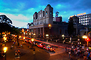 Costa Rica, San Jose, Metroplitan Cathedral, Central Park, Dusk