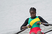 "Rio de Janeiro. BRAZIL.   TOG W1X. Akossiwa AYIVON, 2016 Olympic Rowing Regatta. Lagoa Stadium,<br /> Copacabana,  ""Olympic Summer Games""<br /> Rodrigo de Freitas Lagoon, Lagoa.   Monday  08/08/2016 <br /> <br /> [Mandatory Credit; Peter SPURRIER/Intersport Images]"