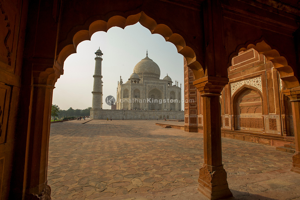 View of the Taj Mahal from the mosque on the west side of the palace.