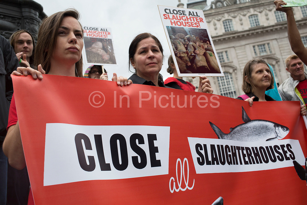 London, UK. Saturday 15th June 2013. Protesters gather to demonstrate against cruelty to animals in Britain's slaughterhouses. Calling for a slaughterhouse ban and to look at the term 'humane slaughter' in abattoirs, they recount stories of how animals are mistreated.
