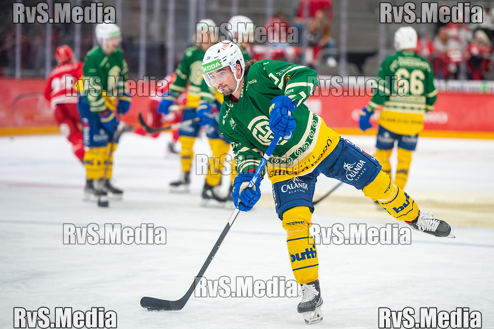 LAUSANNE, SWITZERLAND - SEPTEMBER 24: Axel Simic #28 of HC Davos warms up prior the Swiss National League game between Lausanne HC and HC Davos at Vaudoise Arena on September 24, 2021 in Lausanne, Switzerland. (Photo by Monika Majer/RvS.Media)