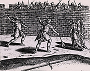 Roman spearmen attacking the walls of a besieged fortress.  From 'Poliorceticon sive de machinis tormentis telis' by Justus Lipsius (Joost Lips) (Antwerp, 1605). Engraving.