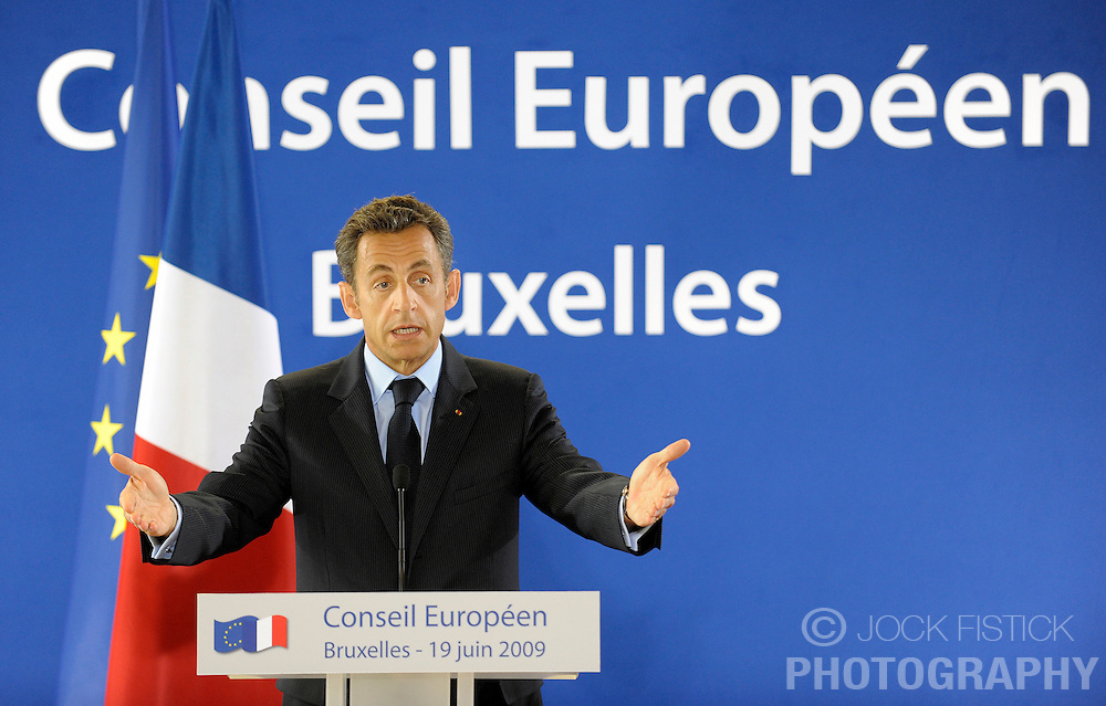 Nicolas Sarkozy, France's president, speaks during a news conference, following the EU Summit, in Brussels, Friday, June 19, 2009. (Photo © Jock Fistick)