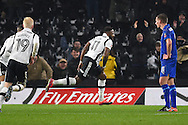 Derby County forward Darren Bent (11) celebrates after scoring a goal to make it 1-1 during the The FA Cup match between Derby County and Leicester City at the Pride Park, Derby, England on 27 January 2017. Photo by Jon Hobley.