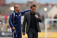 Wimbledon manager Neil Ardley looks disappointed at full time. Skybet football league two match, Newport county v AFC Wimbledon at Rodney Parade in Newport, South Wales on Saturday 27th Sept 2014<br /> pic by Mark Hawkins, Andrew Orchard sports photography.