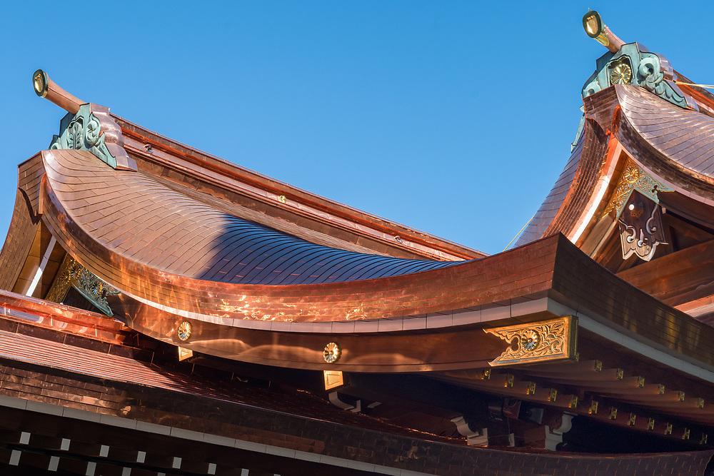 Copper roof of the Meiji Shrine in Tokyo.
